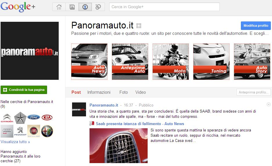 Panoramauto.it sbarca su Google Plus