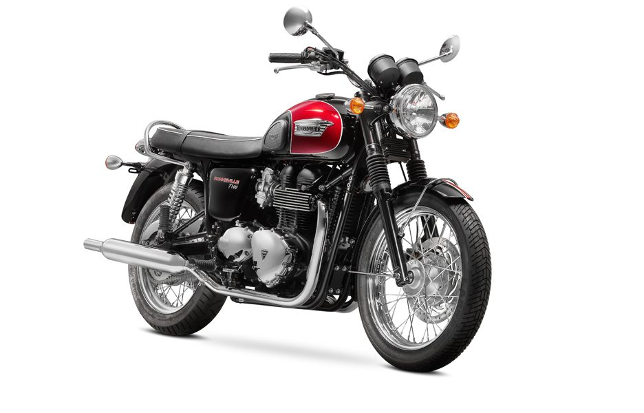 Triumph Bonneville T100 my 2014 Jet Black & Cranberry Red