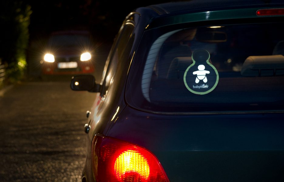 A103011-Baby on board-in the car- night
