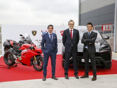 p3-ducati-lamborghini-bts-warehouse-br-francesco-milicia-director-of-supply-chain-ducati-br-jeanluc-saporito-managing-director-p3-italy-br-paolo-gabrielli-head-of-aftersales-automobili-lamborghini-