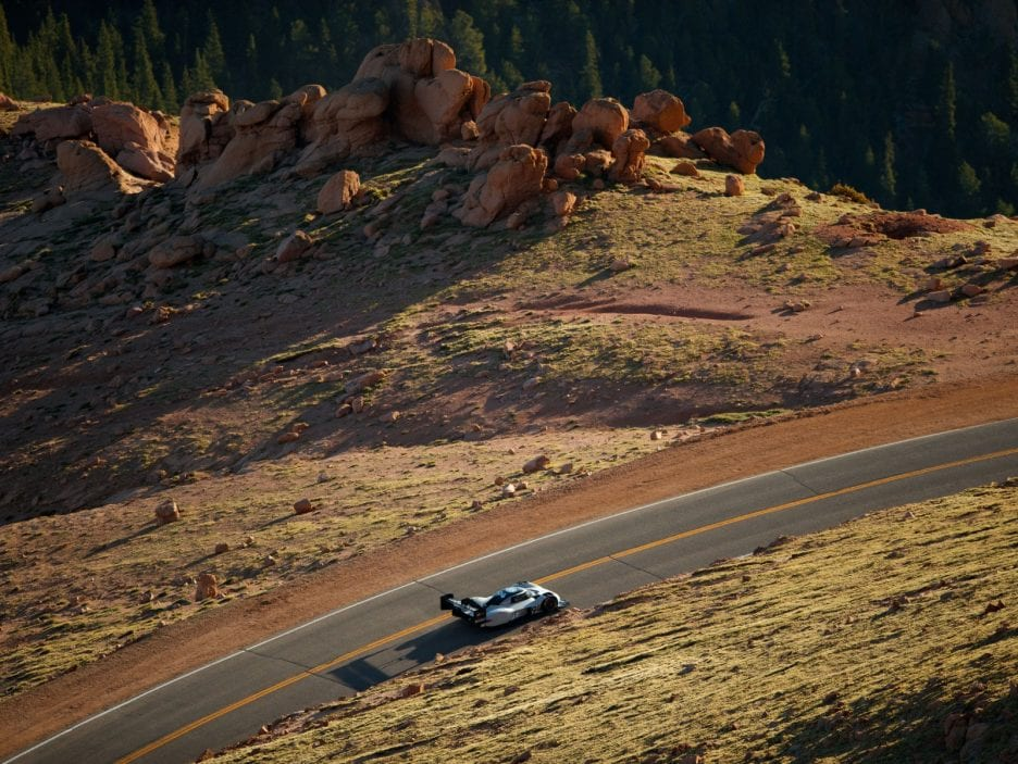 The Volkswagen I.D. R Pikes Peak in full livery testing in Colorado