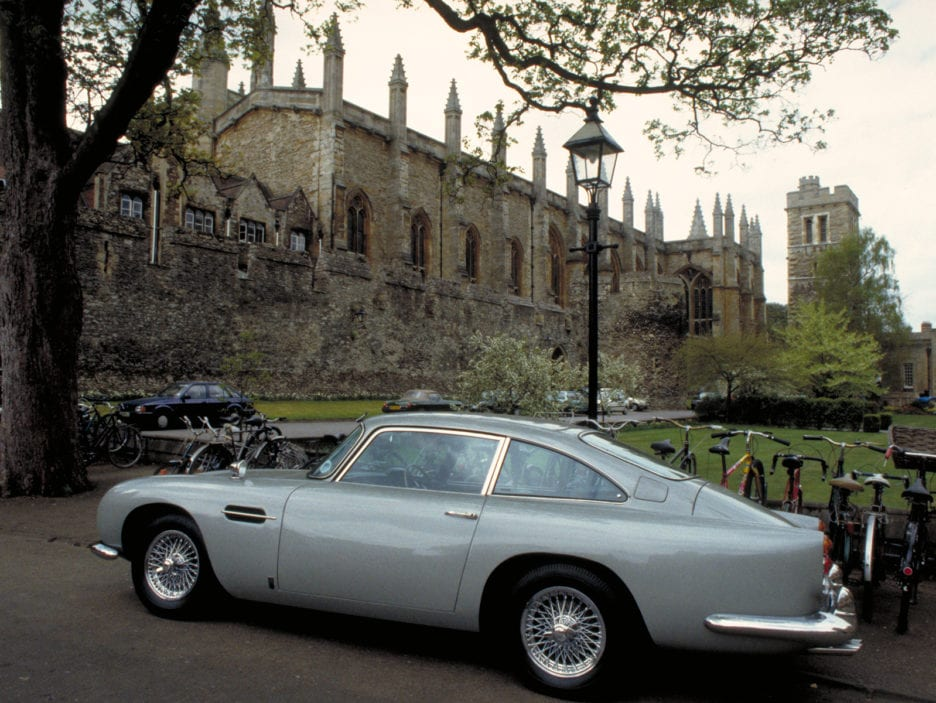 Bond's DB5 parked up while he has a lesson with Professor Inga B